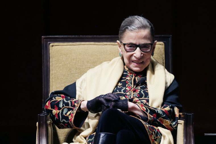 Supreme Court Justice Ruth Bader Ginsburg is interviewed at the University of Michigan in Ann Arbor, Mich., Feb. 6, 2015. (Photo by Carlos Osorio/AP)
