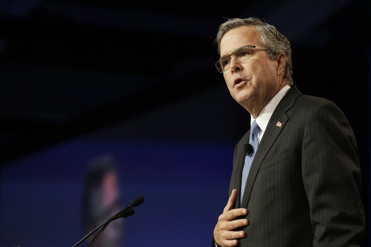 Former Florida Gov. Jeb Bush speaks at the National Automobile Dealers Association convention in San Francisco, Calif., Jan. 23, 2015. (Photo by Jeff Chiu/AP)