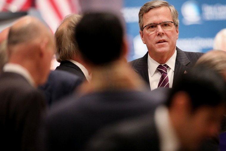 Former Florida Governor Jeb Bush speaks to guests at a luncheon hosted by the Chicago Council on Global Affairs on Feb. 18, 2015 in Chicago, Ill.