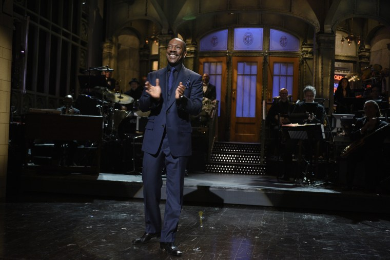 Eddie Murphy on Feb. 15, 2015 at the Saturday Night Live 40th Anniversary Special. (Photo by Dana Edelson/NBC/NBCU Photo Bank/Getty)