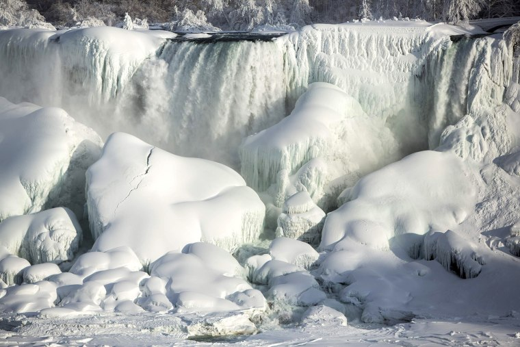 A partially frozen American Falls in sub freezing temperatures is seen in Niagara Falls, Ontario on Feb. 17, 2015.
