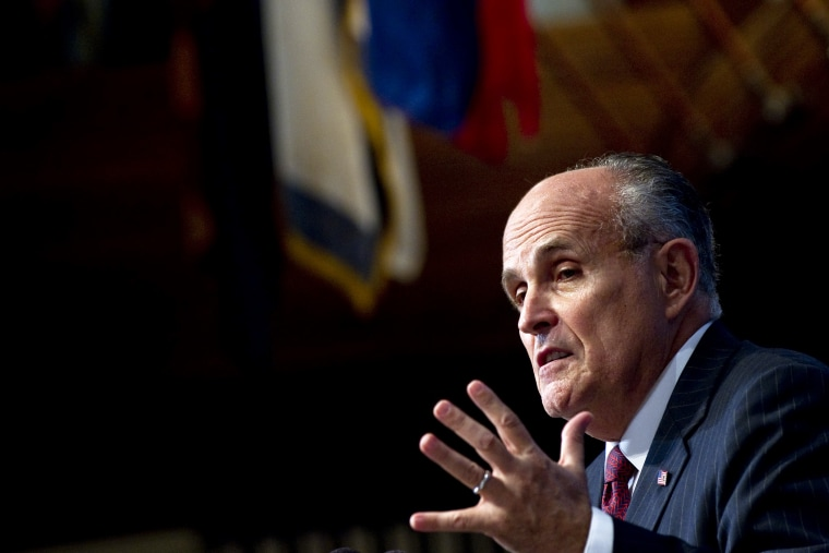 Former New York City Mayor Rudy Giuliani speaks at an event at the National Press Club in Washington, D.C., on Sept. 6, 2011. (Photo by Saul Loeb/AFP/Getty)