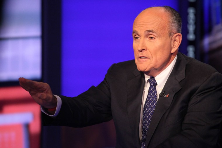 """Rudy Giuliani visits """"Cavuto"""" On FOX Business Network at FOX Studios on Sep. 23, 2014 in New York City. (Photo by Rob Kim/Getty)"""