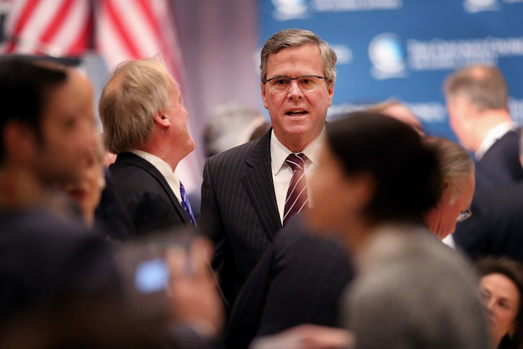 Former Florida Governor Jeb Bush speaks to guests at a luncheon hosted by the Chicago Council on Global Affairs on Feb. 18, 2015 in Chicago, Ill. (Photo by Scott Olson/Getty)