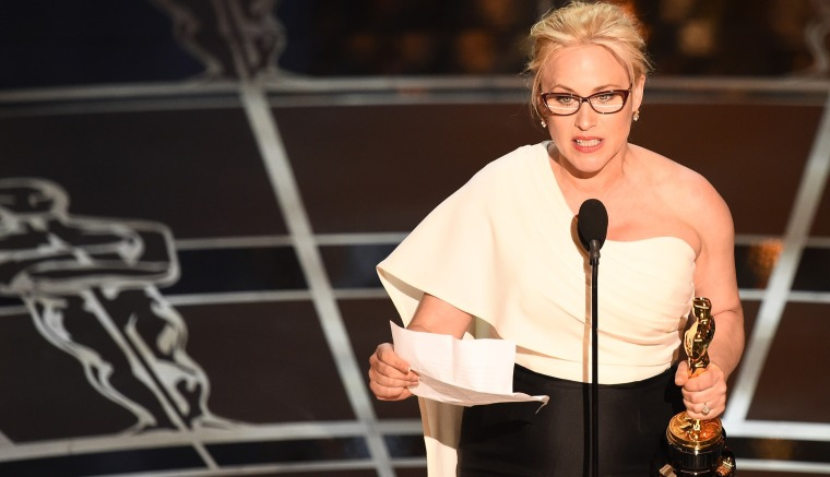 Winner for Best Supporting Actress Patricia Arquette accepts her award on stage at the 87th Oscars Feb. 22, 2015 in Hollywood, Calif. (Photo by Robyn Beck/AFP/Getty)