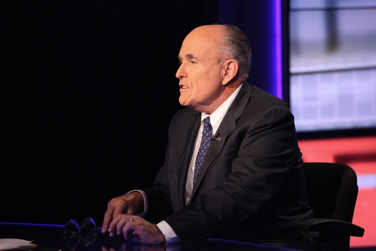 """Rudy Giuliani visits \""""Cavuto\"""" On FOX Business Network at FOX Studios on Sep. 23, 2014 in New York City. (Photo by Rob Kim/Getty)"""