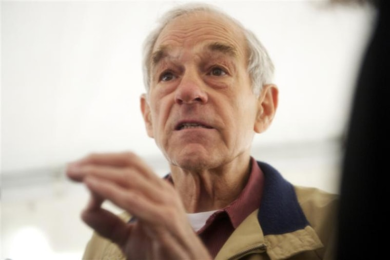 Republican presidential candidate, Congressman Ron Paul, grants press interviews after holding a rally outside Independence Hall in Philadelphia, Penn. on April 22, 2012.
