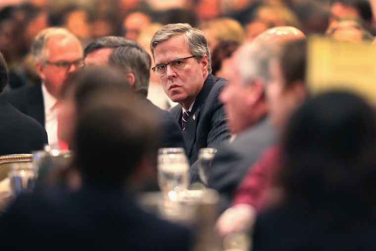 Former Florida Governor Jeb Bush attends a luncheon hosted by the Chicago Council on Global Affairs on Feb. 18, 2015 in Chicago, Ill. (Photo by Scott Olson/Getty)