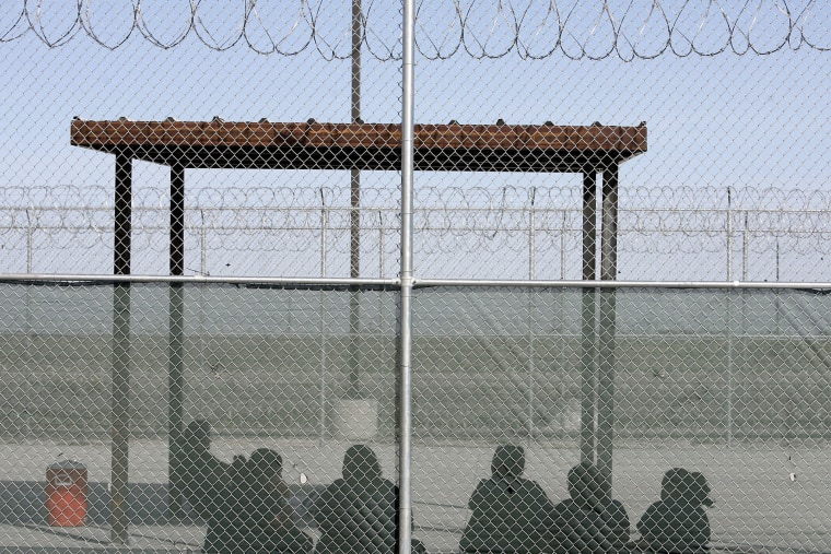 A view of immigrant detainees at the Willacy County Immigration Detention Center in Raymondville, Texas in 2007.