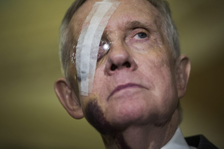 Democratic Senate Minority Leader from Nevada Harry Reid attends a press conference where he spoke about funding for the Department of Homeland Security, among other issues, in Washington, DC, on Feb. 10, 2015.