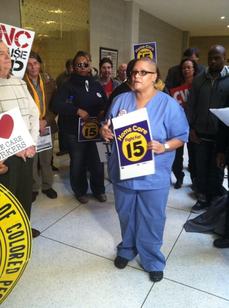 Kimberly Thomas speaking at a rally at the North Carolina General Assembly held by the North Carolina NAACP to fight for union rights, living wages and economic justice on February 11, 2015.