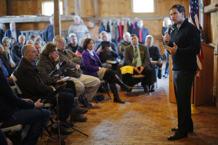 Republican U.S. Senator and possible presidential candidate for 2016 Marco Rubio (R-FL) (R) speaks during an appearance in Hollis, N.H. on Feb.23, 2015.