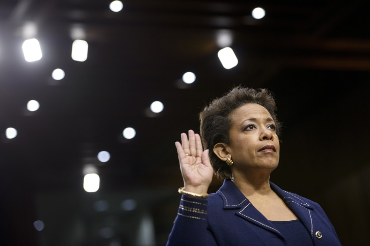 Loretta Lynch is sworn in during her confirmation hearing before the Senate Judiciary Committee on Jan. 28, 2015 in Washington, D.C. (Photo by Brendan Smialowski/AFP/Getty)
