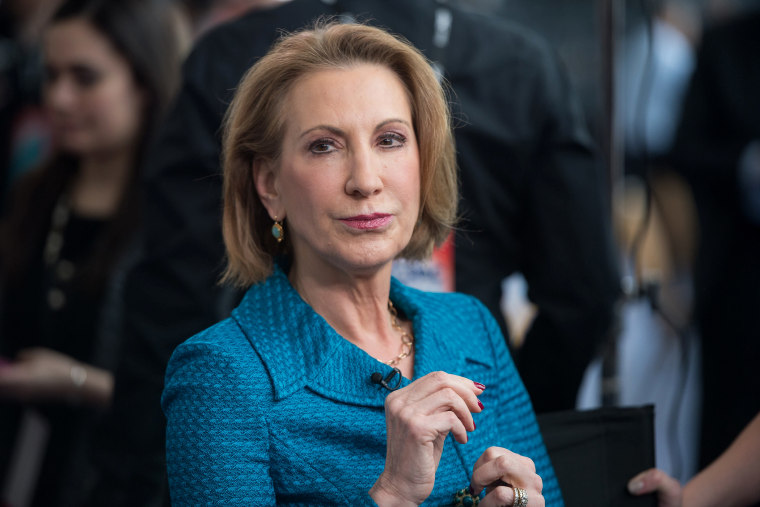 Carly Fiorina, former CEO of Hewlett-Packard and chairman of the American Conservative Union Foundation, at the Conservative Political Action Conference (CPAC) outside Washington, DC on Feb. 26, 2015.