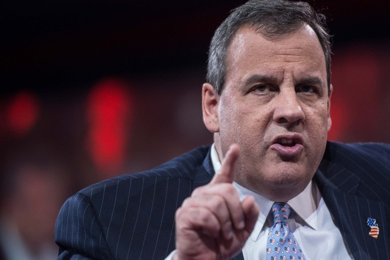 New Jersey Governor Chris Christie addresses the annual Conservative Political Action Conference (CPAC) at National Harbor, Maryland, outside Washington, DC on Feb. 26, 2015.