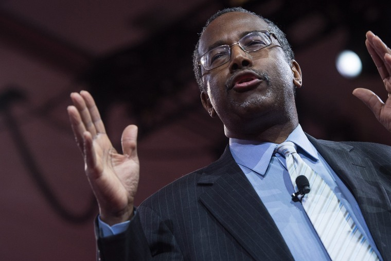US conservative Ben Carson addresses the annual Conservative Political Action Conference (CPAC) at National Harbor, Maryland, outside Washington, DC on Feb. 26, 2015. (Photo by Nicholas Kamm/AFP/Getty)