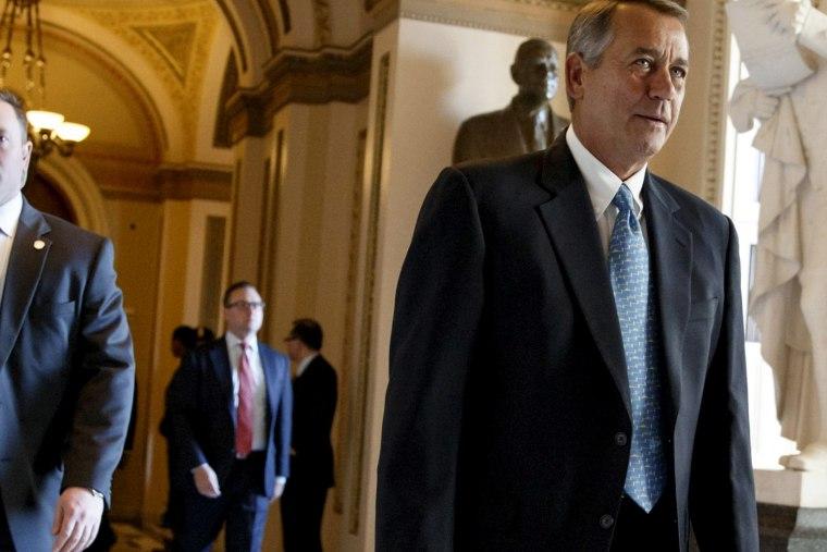 House Speaker John Boehner of Ohio leaves the House chamber on Capitol Hill in Washington, on Feb. 27, 2015.