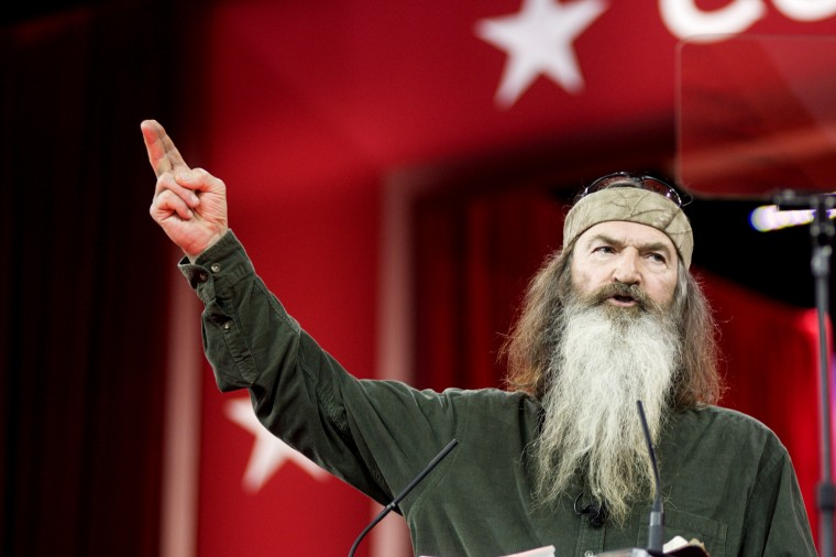 Phil Robertson of A&E's Duck Dynasty addresses the 42nd annual Conservative Political Action Conference (CPAC) at the Gaylord National Resort Hotel and Convention Center on Feb. 27, 2015 in National Harbor, Md. (Photo by Kris Connor/Getty)