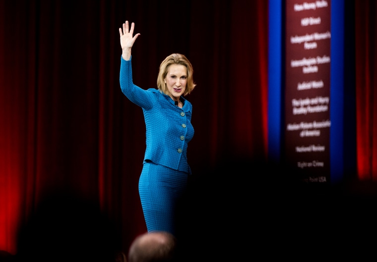 Carly Fiorina, former CEO of Hewlett-Packard, speaks at CPAC in National Harbor, Md., on Feb. 26, 2015. (Photo By Bill Clark/CQ Roll Call/AP)