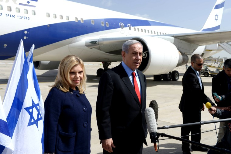 Israeli Prime Minister Benjamin Netanyahu and his wife Sarah Netanyahu depart from Ben Gurion Airport on March 1, 2015. Netanyahu will visit Washington on March 3 to attend US congress. (Photo by Israeli Prime Ministry Press Office/Anadolu Agency/Getty)
