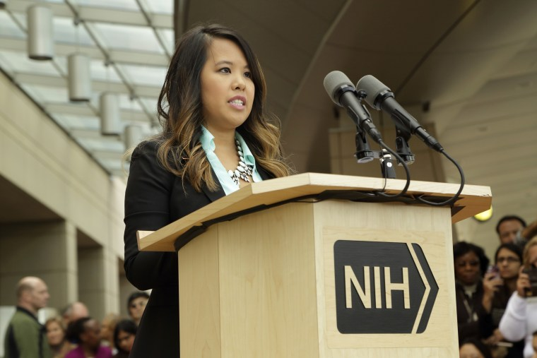 Dallas nurse Nina Pham speaks during a news conference at the National Institutes of Health (NIH) in Bethesda, Maryland in this Oct. 24, 2014. (Photo by National Institutes of Health/Handout via Reuters)