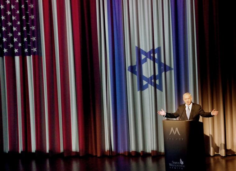 Israeli prime minister Benjamin Netanyahu addresses leaders in Los Angeles's Jewish community in Los Angeles, Calif., March 6, 2014. (Photo by Nick Ut/AP)