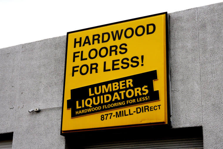 The sign outside the Lumber Liquidators store in Denver, Colo., Feb. 25, 2015. (Photo by Rick Wilking/Reuters)