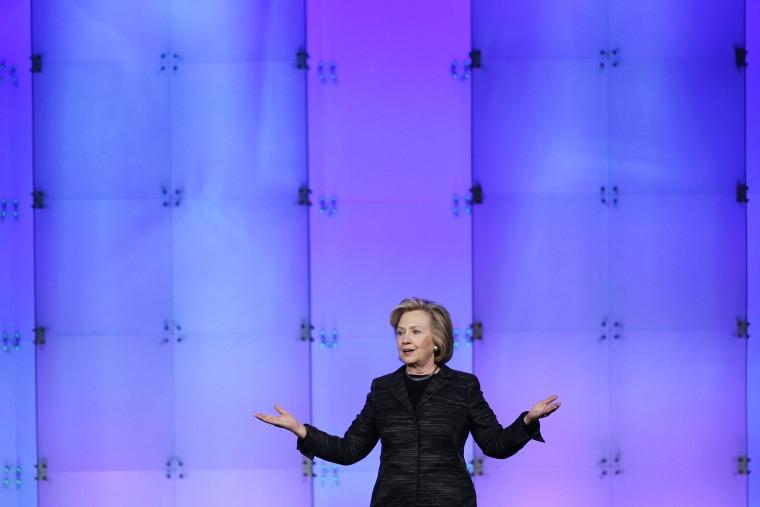 Hillary Rodham Clinton speaks during an event on Feb. 24, 2015, in Santa Clara, Calif. (Photo by Marcio Jose Sanchez/AP)