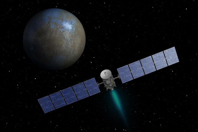 NASA's Dawn spacecraft heads toward the dwarf planet Ceres as seen in this undated artist's conception released on Jan. 22, 2014.
