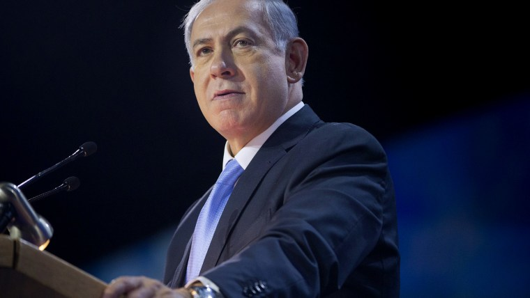Israeli Prime Minister Benjamin Netanyahu speaks at the American Israel Public Affairs Committee (AIPAC) Policy Conference in Washington, on March 2, 2015. (Photo by Pablo Martinez Monsivais/AP)