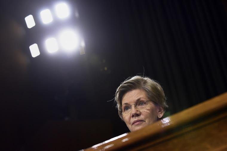 Sen. Elizabeth Warren, D-Mass., listens to testimony on Capitol Hill in Washington, D.C., on Feb. 24, 2015. (Photo by Susan Walsh/AP)