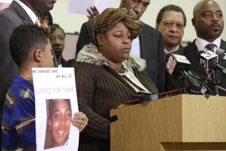 Samaria Rice, the mother of Tamir, a 12-year-old boy fatally shot by a Cleveland police officer, speaks during a news conference, Dec. 8, 2014, in Cleveland. (Photo by Tony Dejak/AP)