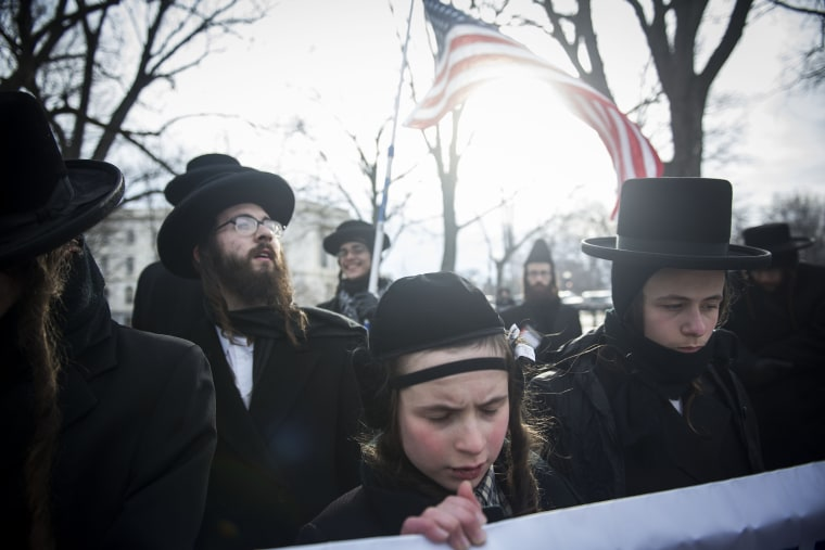 Anti-Zionist Orthodox Jews protest Israeli Prime Minister Benjamin Netanyahu's address to Congress outside the U.S. Capitol on March 3, 2015 in Washington, D.C. (Photo by Gabriella Demczuk/Getty)
