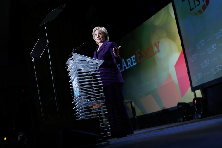 Former U.S. Secretary of State Hillary Clinton addresses the 30th Anniversary National Conference of EMILY's List on March 3, 2015 in Washington, DC. (Photo by Win McNamee/Getty)
