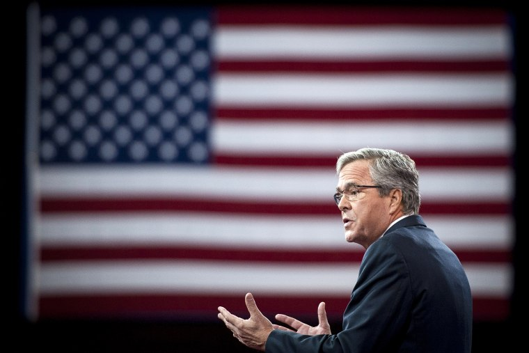 Former Florida Governor Jeb Bush addresses the American Conservative Union's 42nd Annual Conservative Political Action Conference (CPAC) at National Harbor, Md., on Feb. 27, 2015. (Photo by Pete Marovich/EPA)