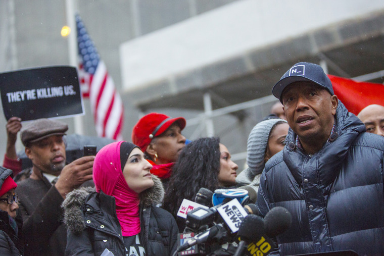Rap mogul Russell Simmons speaks at a news conference along with members of Justice League NYC to present a list of demands in New York