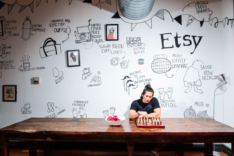Inside the Brooklyn, N.Y. headquarters of Etsy, an e-commerce company offering handmade, vintage and/or unique factory-manufactured items.