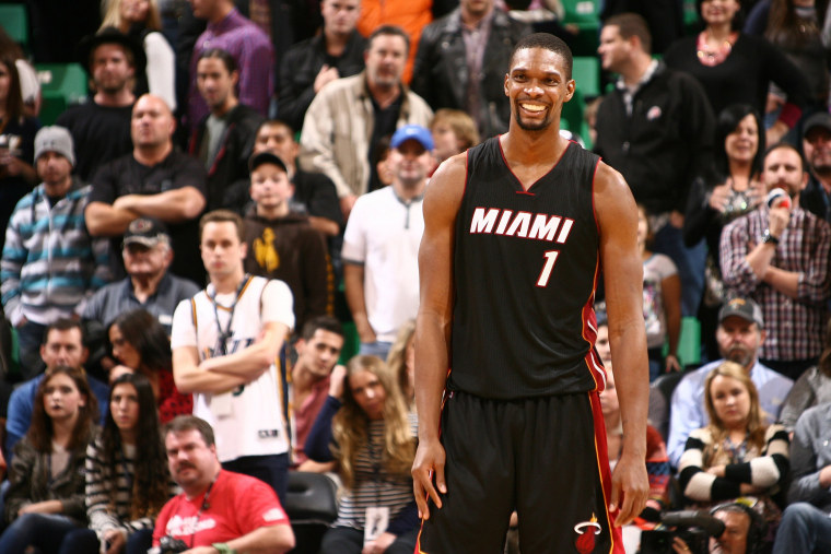 Chris Bosh #1 of the Miami Heat smiles after winning the game against the Utah Jazz at EnergySolutions Arena on Dec. 12, 2014 in Salt Lake City, Utah.
