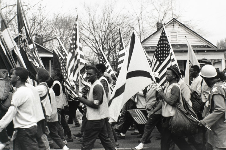 Marchers at the culmination of the Selma to Montgomery March on March, 25, 1965. (Photo by Morton Broffman/Getty)