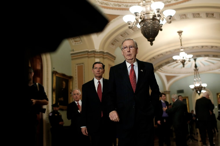 Senate Minority Leader Mitch McConnell (R) (R-KY) arrives at a press conference following the weekly policy luncheon of the Republican caucus at the U.S. Capitol March 3, 2015 in Washington, D.C. (Photo by Win McNamee/Getty)