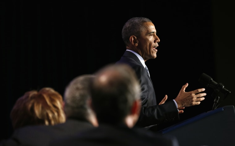 President Barack Obama speaks at the General Session of the 2015 Democratic National Committee Winter Meeting in Washington Feb. 20, 2015. (Photo by Kevin Lamarque/Reuters)