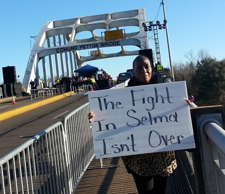 Kim King, a Selma auto worker, attends a protest demanding that Hyundai support good jobs and safe working conditions at its supplier plant in Selma.
