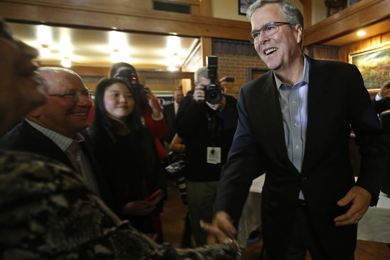Former Governor of Florida Jeb Bush greets attendees at a fundraiser for U.S. Rep. David Young (R-IA) in Urbandale, Iowa on March 6, 2015.