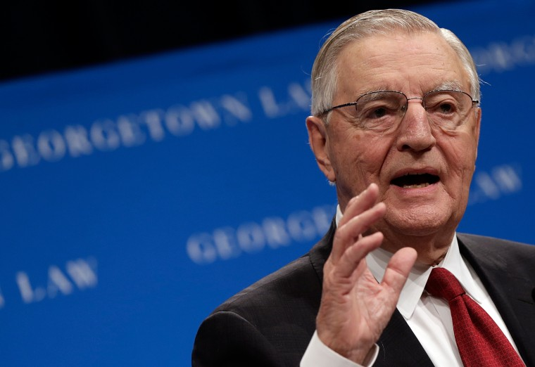 Former U.S. Vice President Walter Mondale speaks at a Georgetown University Law Center discussion on Sept. 24, 2013 in Washington, DC.