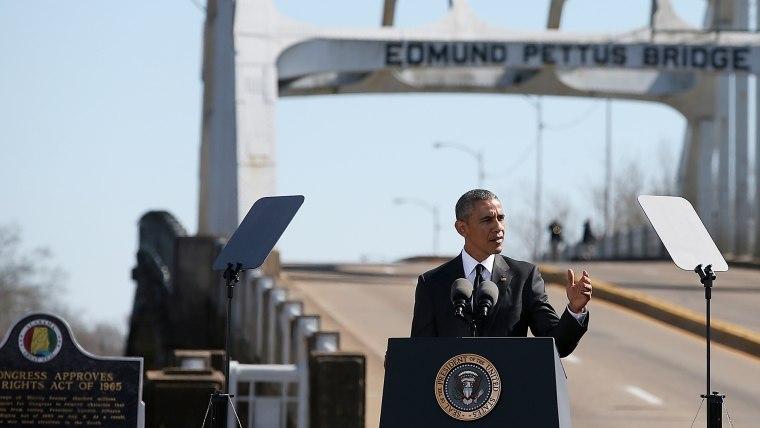 U.S. president Barack Obama speaks in front of the Edmund Pettus Bridge on March 7, 2015 in Selma, Ala. (Photo by Justin Sullivan/Getty)