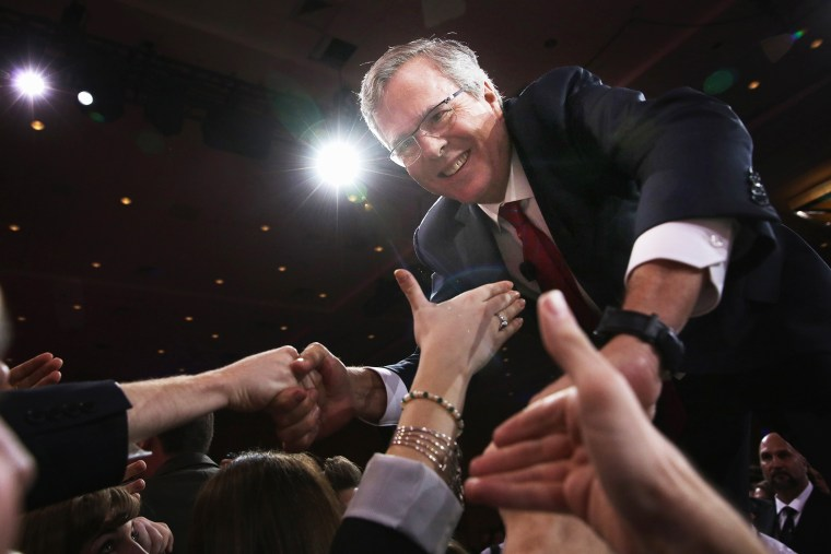 Former Florida governor Jeb Bush shakes hands with attendees after speaking at the 42nd annual Conservative Political Action Conference on Feb. 27, 2015 in National Harbor, Md. (Photo by Alex Wong/Getty)