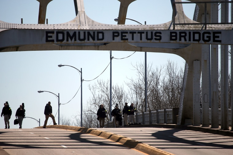The Edmund Pettus Bridge on March 7, 2015 in Selma, Ala. (Photo by Justin Sullivan/Getty)