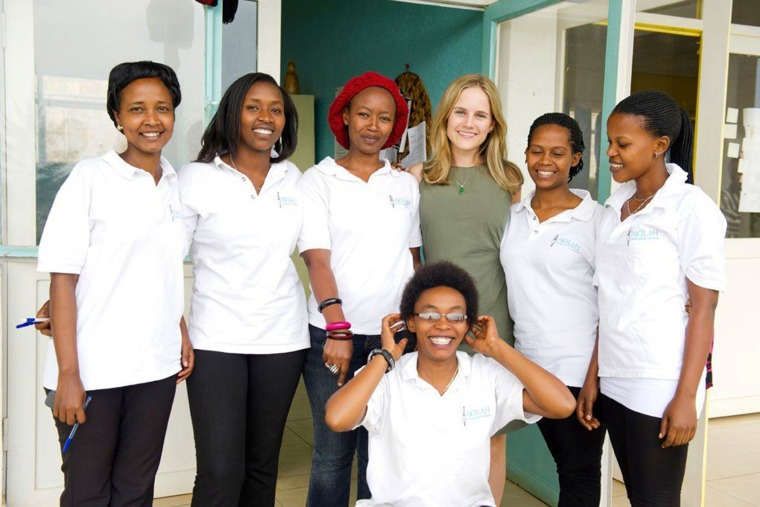 Akilah Institute founder Elizabeth Dearborn Hughes with students at the Akilah Institute. (Photo by Elizabeth Dearborn Hughes)