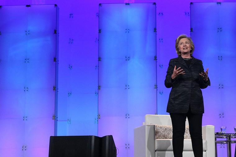 Former U.S. Secretary of State Hillary Clinton delivers a keynote address during the Watermark Silicon Valley Conference for Women on February 24, 2015 in Santa Clara, Calif. (Photo by Justin Sullivan/Getty)