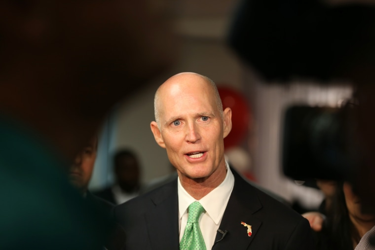 Florida Governor Rick Scott speaks to the media during a visit to SeaLand shipping lines new Intra-Americas headquarters on Jan. 23, 2015 in Miramar, Fla.